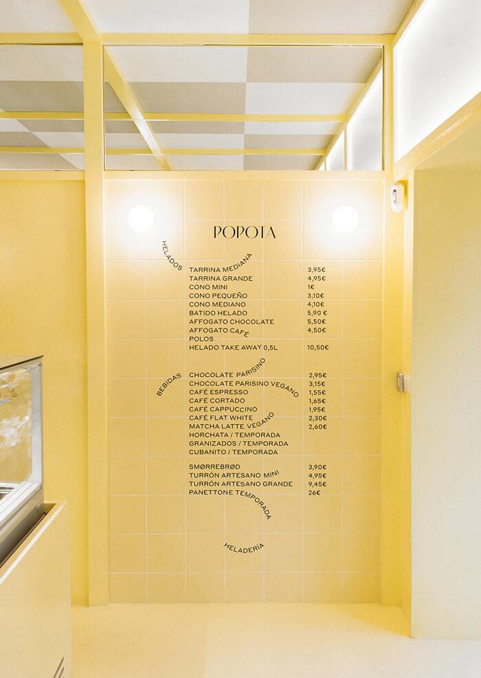 ジェラートカフェのブランディング_メニューのデザイン