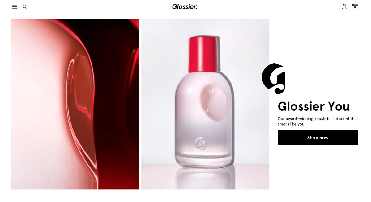 ネットショップのブランディングデザイン_glossierのwebサイト