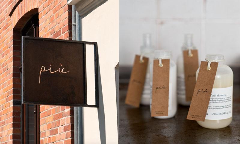 ポーランドのヘアサロン「PIÙ」の看板と商品タグデザイン